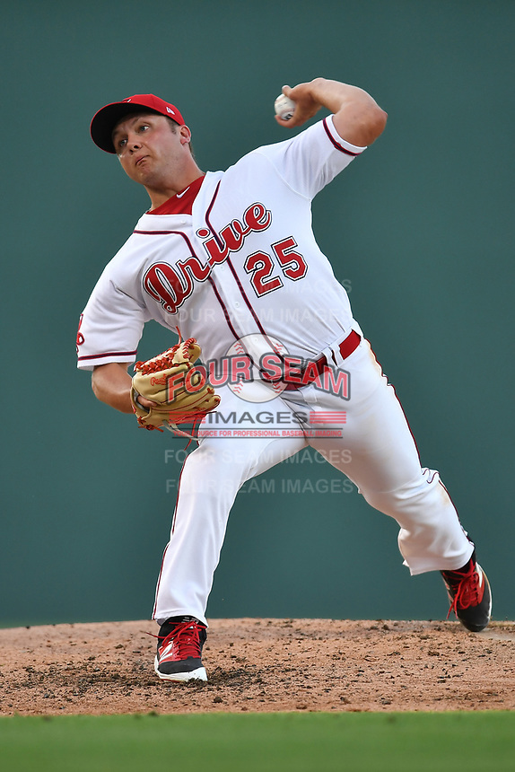 Starting pitcher Robby Sexton (25) of the Greenville Drive in a game against the Asheville Tourists on Tuesday, May 2, 2017, at Fluor Field at the West End in Greenville, South Carolina. Asheville won, 7-1. (Tom Priddy/Four Seam Images)