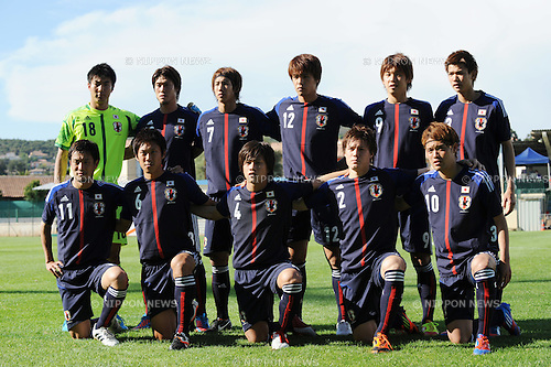 U-23Japan team group line-up (JPN),.MAY 23, 2012 - Football / Soccer :.Japan team group shot (Top row - L to R) Shunsuke Ando, Daisuke Suzuki, Yuki Otsu, Mizuki Hamada, Yuya Osako, Takahiro Ogihara, (Bottom row - L to R) Kota Mizunuma, Kosuke Yamamoto, Yutaka Yoshida, Gotoku Sakai and Keigo Higashi before the 2012 Toulon Tournament Group A match between U-21 Turkey 2-0 U-23 Japan at Stade Perruc in Hyeres, France. (Photo by FAR EAST PRESS/AFLO)