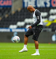 18th July 2020; Liberty Stadium, Swansea, Glamorgan, Wales; English Football League Championship, Swansea City versus Bristol City; Andre Ayew of Swansea City warms up before the match