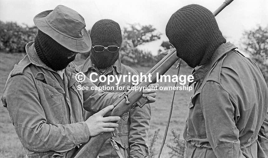 UDA training camp, somewhere near Belfast, N Ireland, UK where members are given firearms instruction. May 1972. 197205000364b<br />