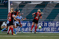 Rochester, NY - Saturday May 21, 2016: Western New York Flash forward Jessica McDonald (14) takes a shot. The Western New York Flash defeated Sky Blue FC 5-2 during a regular season National Women's Soccer League (NWSL) match at Sahlen's Stadium.