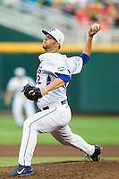 Florida Gators pitcher Logan Shore (32) delivers a pitch to the plate against the Miami Hurricanes in the NCAA College World Series on June 13, 2015 at TD Ameritrade Park in Omaha, Nebraska. Florida defeated Miami 15-3. (Andrew Woolley/Four Seam Images)