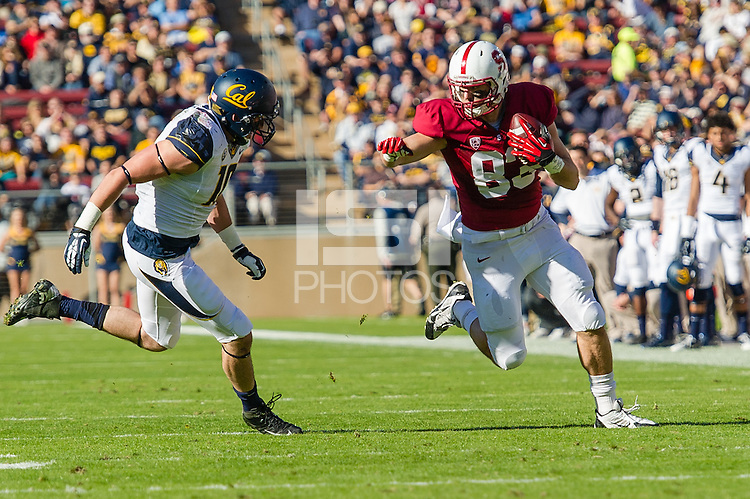 STANFORD, CA - NOVEMBER 23, 2013:  Davis Dudchock during Stanford's game against Cal. The Cardinal defeated the Bears 63-13.
