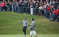 Large crowd watch Luke Donald (ENG) in action on the 3rd during the Final Round of the British Masters 2015 supported by SkySports played on the Marquess Course at Woburn Golf Club, Little Brickhill, Milton Keynes, England.  11/10/2015. Picture: Golffile | David Lloyd<br /> <br /> All photos usage must carry mandatory copyright credit (© Golffile | David Lloyd)