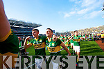 James O?Donoghue and Stephen O'Brien. Kerry players celebrate their victory over Donegal in the All Ireland Senior Football Final in Croke Park Dublin on Sunday 21st September 2014.