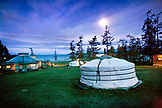 MONGOLIA, Khuvsgul National Park, night shots of the Toilogt ger camp at Khovsgol Lake