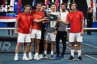 12th January 2020; Sydney Olympic Park Tennis Centre, Sydney, New South Wales, Australia; ATP Cup Australia, Sydney, Day 10; Serbia versus Spain; ATP Cup final ceremony; Rafael Nadal and Team Spain with the runners up trophy - Editorial Use