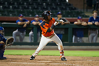 AZL Giants right fielder Mikey Edie (16) squares to bunt against the AZL Rangers on September 4, 2017 at Scottsdale Stadium in Scottsdale, Arizona. AZL Giants defeated the AZL Rangers 6-5 to advance to the Arizona League Championship Series. (Zachary Lucy/Four Seam Images)