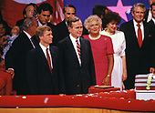 United States Vice President George H.W. Bush on the podium of the Republican National Convention in New Orleans, Louisiana following his speech accepting the Republican Party nomination for President of the United States. on August  18, 1988.  Pictured from left to right: US Senator Dan Quayle (Republican of Indiana), the GOP nominee for Vice President of the United States; Vice President Bush; Barbara Bush; former US Secretary of Transportation Elizabeth Dole; and the Reverend Pat Robertson.<br /> Credit: Arnie Sachs / CNP