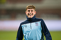 1st November 2019; Dens Park, Dundee, Scotland; Scottish Championship Football, Dundee Football Club versus Greenock Morton; Finlay Robertson of Dundee during the warm up before the match  - Editorial Use