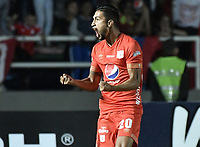 CALI - COLOMBIA, 21-04-2019: Jeison Medina del América celebra después de anotar el primer gol de su equipo partido por la fecha 17 de la Liga Águila I 2019 entre América de Cali y Millonarios jugado en el estadio Pascual Guerrero de la ciudad de Cali. / Jeison Medina of America celebrates after scoring the first goal of his team during match for the date 17 as part of Aguila League I 2019 between America Cali and Millonarios played at Pascual Guerrero stadium in Cali. Photo: VizzorImage / Gabriel Aponte / Staff