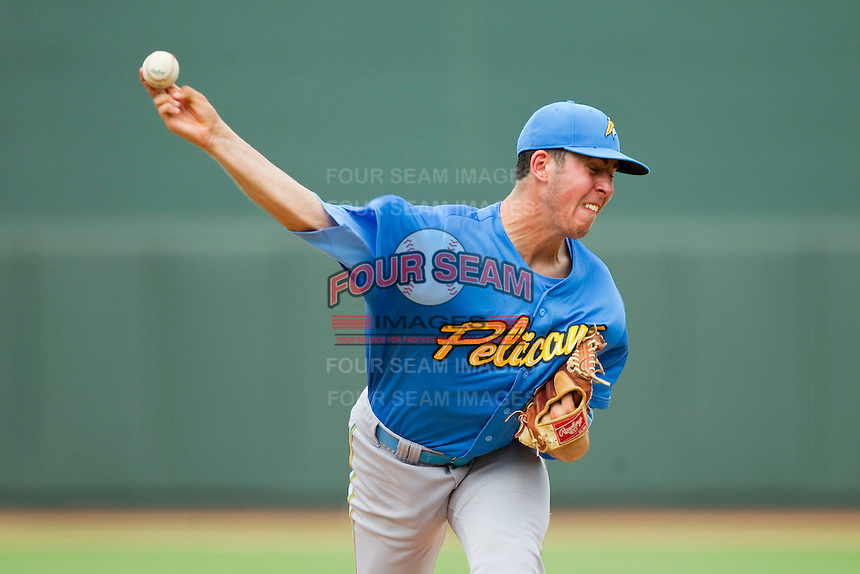 Myrtle Beach Pelicans starting pitcher Paul Schwendel (21) delivers a pitch to the plate against the Winston-Salem Dash at BB&T Ballpark on July 7, 2013 in Winston-Salem, North Carolina.  The Pelicans defeated the Dash 6-5 in 8 innings in game two of a double-header.  (Brian Westerholt/Four Seam Images)