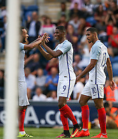 Lewis Baker (left) (Vitesse Arnhem, loan from Chelsea) of England congratulates Marcus Rashford (Manchester United) of England on his 2nd goal during the International EURO U21 QUALIFYING - GROUP 9 match between England U21 and Norway U21 at the Weston Homes Community Stadium, Colchester, England on 6 September 2016. Photo by Andy Rowland / PRiME Media Images.