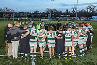 Ealing Trailfinders players after victory in the Greene King IPA Championship match between Ealing Trailfinders and Jersey Reds at Castle Bar , West Ealing , England  on 22 December 2018. Photo by David Horn.
