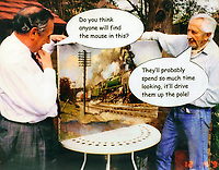 BNPS.co.uk (01202 558833)<br /> Pic: Sworders/BNPS<br /> <br /> Cartoon of the artist (right) with his printer John Howarth.<br /> <br /> Famous locomotive painting that got the South African security services all steamed up chuffs up for auction.<br /> <br /> An oil painting of a historic steam train which almost sparked a little-known international incident has emerged for sale for £60,000.<br /> <br /> The 1963 artwork by Terence Cuneo shows the last ever steam locomotive built for British Railways, the standard class 9F engine.<br /> <br /> Cuneo, who was the 'official artist' for the Queen's coronation, mischievously hid a tiny mouse in all his painting's as a 'good luck symbol' after a painting he did of a mouse eating cheese earlier in his career sold first at a show.<br /> <br /> The rodent, however, sparked a near-frenzy when Officers on board a Union Castle liner en route to Cape Town examined a print of this painting but to their great frustration could not spot the creature, prompting the irate captain to cable the printers demanding to know where it was hidden. <br /> <br /> But the return message 'Up telegraph pole first right' - was intercepted by South African security forces who deemed it highly suspicious and boarded the ship on its arrival in Cape Town, only standing down when they were shown the painting it referred to.