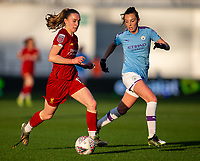 1st December 2019; Academy Stadium, Manchester, Lancashire, England; The FA's Women's Super League, Manchester City Women versus Liverpool Women; Niamh Charles of Liverpool FC Women chases the ball, with her boot lace flailing - Editorial Use