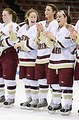 (Olchowski) Kristin Regan (Boston College - 6), Allison Szlosek (Boston College - 8), Lauren Wiedmeier (Boston College - 27) - The Boston College Eagles defeated the Harvard University Crimson 1-0 to win the Beanpot on Tuesday, February 10, 2009, at Matthews Arena in Boston, Massachusetts.