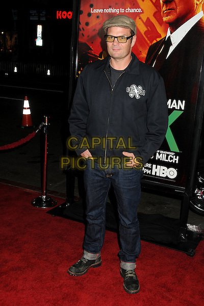 """Chris Bauer.HBO's """"Luck"""" Los Angeles Premiere held at Grauman's Chinese Theatre, Hollywood, California, USA..January 25th, 2012.full length black jacket jeans denim  hat glasses .CAP/ADM/BP.©Byron Purvis/AdMedia/Capital Pictures."""