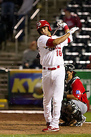 Alex Castellanos (18) of the Springfield Cardinals takes a practice swing during a game against the Frisco RoughRiders on April 14, 2011 at Hammons Field in Springfield, Missouri.  Photo By David Welker/Four Seam Images.
