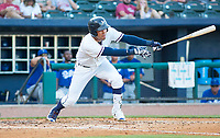 Tulsa Drillers vs NWA Naturals 3rd baseman, Jack Lopez of the Naturals trys to get things started with a hit in the first inning against the Drillers at Arvest Ballpark, Springdale, AR, Wednesday, July 12, 2017,  © 2017 David Beach