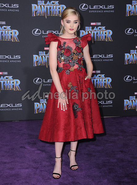 "29 January 2018 - Hollywood, California - Meg Donnelly. Marvel Studios' ""Black Panther"" World Premiere held at Dolby Theater. Photo Credit: Birdie Thompson/AdMedia"