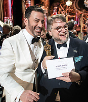 Guillermo del Toro poses with Jimmy Kimmel with the Oscar&reg; for best motion picture of the year for work on &ldquo;The Shape of Water&rdquo; during the live ABC Telecast of The 90th Oscars&reg; at the Dolby&reg; Theatre in Hollywood, CA on Sunday, March 4, 2018.<br /> *Editorial Use Only*<br /> CAP/PLF/AMPAS<br /> Supplied by Capital Pictures