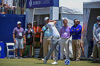 Wesley Bryan (USA) watches his tee shot on 1 during Round 2 of the Zurich Classic of New Orl, TPC Louisiana, Avondale, Louisiana, USA. 4/27/2018.<br /> Picture: Golffile | Ken Murray<br /> <br /> <br /> All photo usage must carry mandatory copyright credit (&copy; Golffile | Ken Murray)