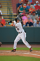 Delmarva Shorebirds Adam Hall (10) bats during a South Atlantic League game against the Greensboro Grasshoppers on August 21, 2019 at Arthur W. Perdue Stadium in Salisbury, Maryland.  Delmarva defeated Greensboro 1-0.  (Mike Janes/Four Seam Images)
