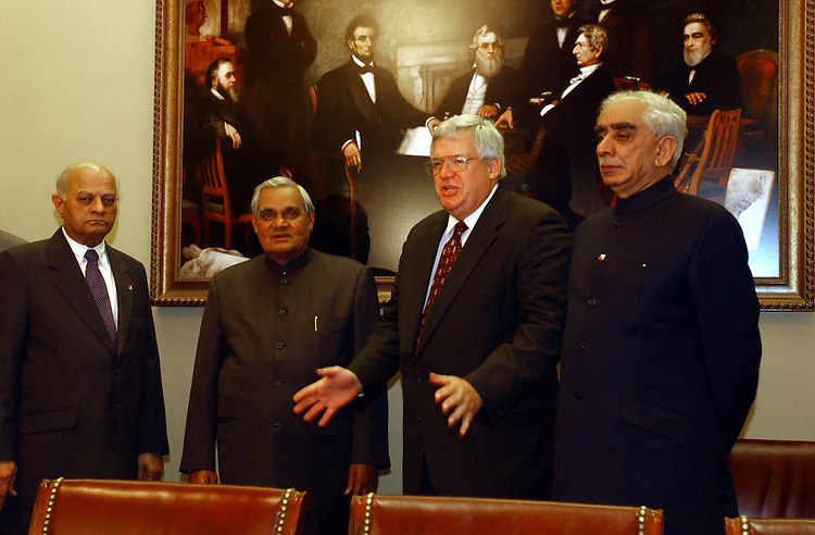 2india110701 --  Prime Minister Atal Vajpayee, Speaker of the House J. Dennis Hastert, R-Ill., and Jaswant Singh, F.M. of India, during a luncheon hosted by the speakers office.