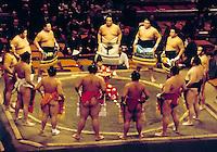 Japan, Tokyo: Sumo wrestlers, ceremony