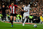 Vinicius Junior of Real Madrid and Inigo Lekue of Athletic Club during La Liga match between Real Madrid and Athletic Club de Bilbao at Santiago Bernabeu Stadium in Madrid, Spain. December 22, 2019. (ALTERPHOTOS/A. Perez Meca)