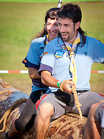 Two Guests from Catalan Scouts are on the dragon Swing at Tivoli. Photo: André Jörg/ Scouterna