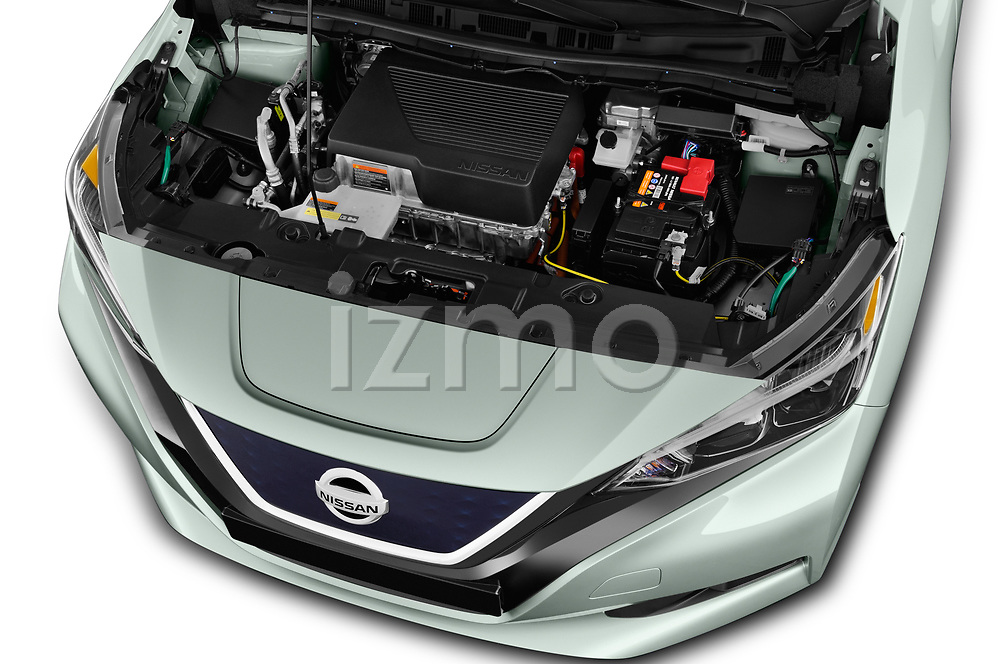 Car stock 2018 Nissan Leaf SV 5 Door Hatchback engine high angle detail view