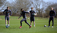 Pictured: Kenji Gorre (2nd L) takes a penalty Friday 24 March 2017<br /> Re: Swansea City U23 training ahead of their International Cup game against Porto, Fairwood training ground, UK