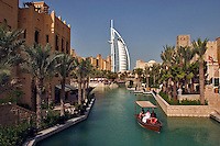Dubai, United Arab Emirates. Madinat Jumeirah. Burj al Arab Hotel, .Mina A'Salam Hotel and Convention Centre. Souk. Water taxi. Abra..