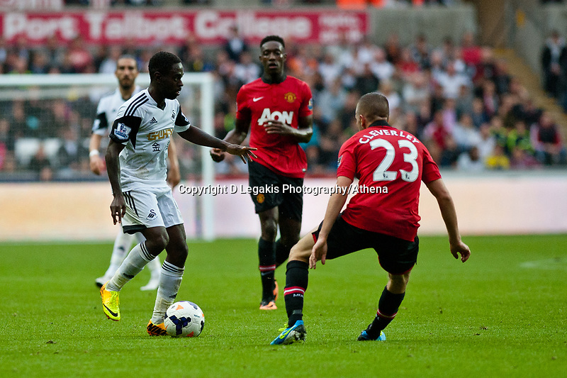 Saturday 17 August 2013<br /> <br /> Pictured: Nathan Dyer of Swansea<br /> <br /> Re: Barclays Premier League Swansea City v Manchester United at the Liberty Stadium, Swansea, Wales