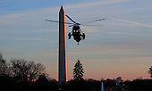 Marine One, with with United States President Barack Obama aboard, prepares to land on the South Lawn of the White House in Washington, DC on February 26, 2016.  The President is returning from a day trip to Jacksonville, Florida.<br /> Credit: Dennis Brack / Pool via CNP