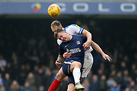 Matthew Clarke of Portsmouth and Simon Cox of Southend United during Southend United vs Portsmouth, Sky Bet EFL League 1 Football at Roots Hall on 16th February 2019