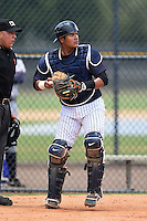 GCL Yankees 2 catcher Rainiero Coa (76) during a game against the GCL Braves on June 23, 2014 at the Yankees Minor League Complex in Tampa, Florida.  GCL Yankees 2 defeated the GCL Braves 12-4.  (Mike Janes/Four Seam Images)