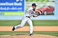 Asheville Tourists pitcher Mike Bunal (39) delivers a pitch during a game against the Greensboro Grasshoppers at McCormick Field on April 30, 2017 in Asheville, North Carolina. The Grasshoppers defeated the Tourists 7-0. (Tony Farlow/Four Seam Images)