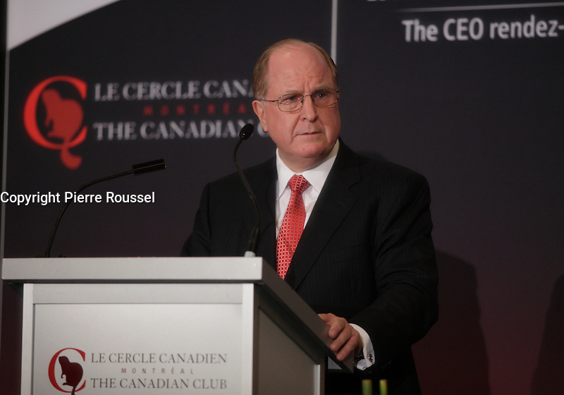 Montreal, CANADA - October 6 2014 - Donald Guloien, President &amp; CEO of Manulife, delivers a speech to the Canadian Club of Montreal and announce the construction of Maison Manuvie, in partnership  with Ivanhoe Cambridge.<br />