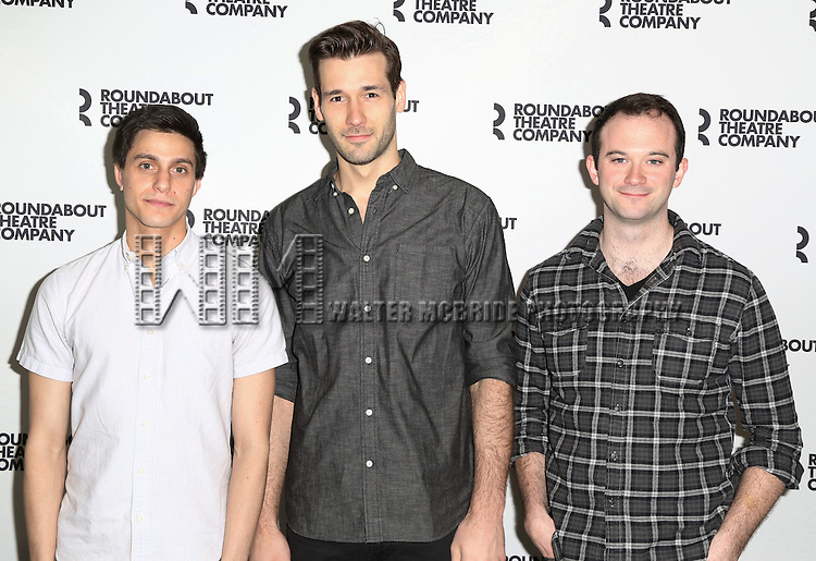 Gideon Glick, John Behlman, Luke Smith attends the cast photo call for 'Significant Other' at the Roundabout Theatre rehearsal hall on April 24, 2015 in New York City.