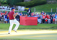 Patrick Reed (Team USA) on the 15th green during Saturday afternoon Fourball at the Ryder Cup, Hazeltine National Golf Club, Chaska, Minnesota, USA.  01/10/2016<br /> Picture: Golffile | Fran Caffrey<br /> <br /> <br /> All photo usage must carry mandatory copyright credit (&copy; Golffile | Fran Caffrey)