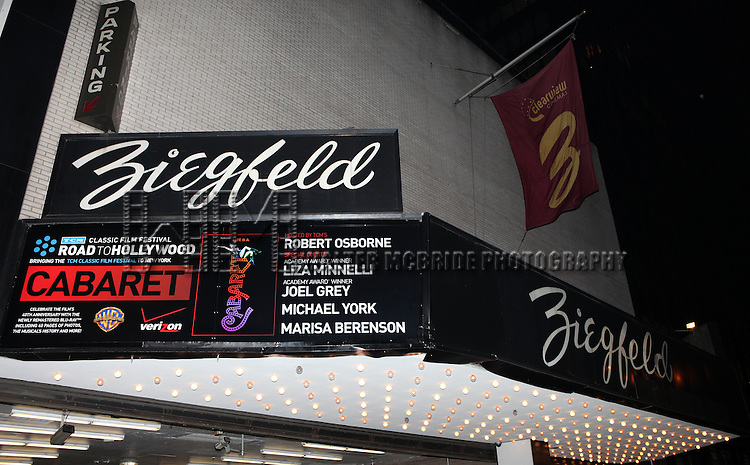 TCM - Road To Hollywood: Cabaret 40th Anniversary Marquee at the Ziegfeld Theatre on 1/31`/2013. The evenings host Robert Osborne with it's stars Liza Minnelli, Joel Grey, Michael York & Marisa Berenson.