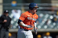 Jacob Campbell (9) of the Illinois Fighting Illini hustles down the first base line against the West Virginia Mountaineers at TicketReturn.com Field at Pelicans Ballpark on February 23, 2020 in Myrtle Beach, South Carolina. The Fighting Illini defeated the Mountaineers 2-1.  (Brian Westerholt/Four Seam Images)