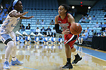13 November 2015: Gardner-Webb's Alexus Hill (right) and North Carolina's Jamie Cherry (10). The University of North Carolina Tar Heels hosted the Gardner-Webb University Runnin' Bulldogs at Carmichael Arena in Chapel Hill, North Carolina in a 2015-16 NCAA Division I Women's Basketball game. Gardner-Webb won the game 66-65.