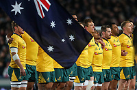 The Wallabies sing the national anthem before the Bledisloe Cup and Rugby Championship rugby match between the New Zealand All Blacks and Australia Wallabies at Eden Park in Auckland, New Zealand on Saturday, 25 August 2018. Photo: Simon Watts / lintottphoto.co.nz