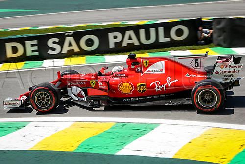 10th November 2017, Autodromo Jose Carlos Pace, Sao Paolo, Brazil; F1 Grand Prix of Brazil, Free practise sessions; 5 Sebastian Vettel (GER, Scuderia Ferrari), Sao Paulo Brazil