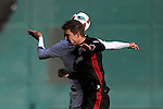 09 April 2016: DC United's Bobby Boswell and Vancouver's Blas Perez (PAN) (behind) challenge for a header. DC United hosted the Vancouver Whitecaps FC at RFK Stadium in Washington, DC in a 2016 Major League Soccer regular season game. DC United won the match 4-0.