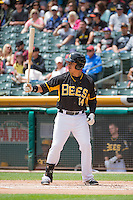 Efren Navarro (14) of the Salt Lake Bees at bat against the Colorado Springs Sky Sox in Pacific Coast League action at Smith's Ballpark on May 24, 2015 in Salt Lake City, Utah.  (Stephen Smith/Four Seam Images)